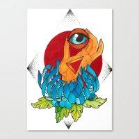 hamsa Canvas Prints featuring Hamsa by missfortunetattoo