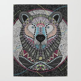 Neon Tribal Bear Poster