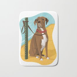 Boxer Dog Art Illustration Bath Mat