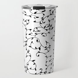Modern Scattered Leaves (Black) Travel Mug