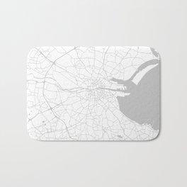 White on Light Grey Dublin Street Map Bath Mat