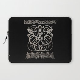 Old norse design - Two Jellinge-style entwined beasts originally carved on a rune stone in Gotland. Laptop Sleeve