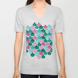 Mermaid Scales Collection // Pink Turquoise Blue Palette Unisex V-Neck