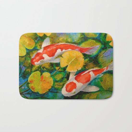 Koi in a pond Bath Mat