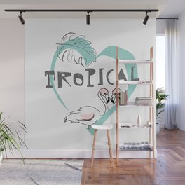 Tropic flamingo love Wall Mural