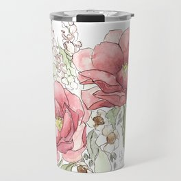 Watercolor Flowers - Garden Roses Travel Mug
