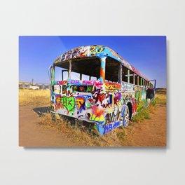 Colorful pop art graffiti painted magical old school bus Metal Print