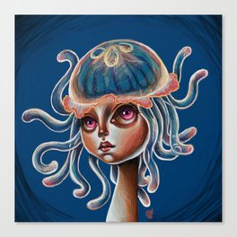 Jellyfish Head pop Surrealism Illustration Canvas Print