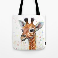 baby Tote Bags featuring Giraffe Baby by Olechka