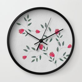Watercolor Flower Branch Wall Clock