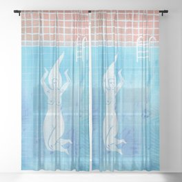 Woman skinny dipping in a pool Sheer Curtain