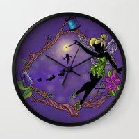 tinker bell Wall Clocks featuring Sihouette Tinker Bell by Katie Simpson a.k.a. Redhead-K