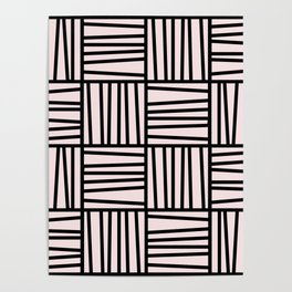 Bold Graphic Memphis Pattern, Black & Pink Blocks & Lines Poster