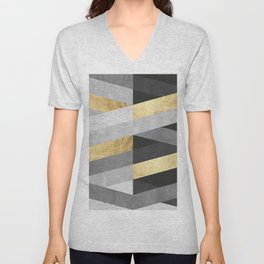 Gold and gray lines IV Unisex V-Neck