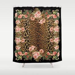 Rose around the Leopard Shower Curtain