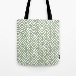 Boho Herringbone Pattern, Sage Green and White Tote Bag