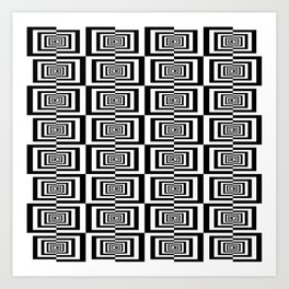Black And White Symetric Geometric Rectangles Pattern Art Print
