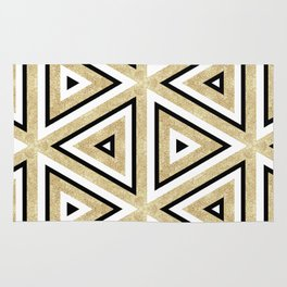Gold Glitter and Black Geomeric Pattern Rug