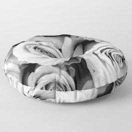 Black and White Roses Floor Pillow