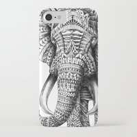 yellow pattern iPhone & iPod Cases featuring Ornate Elephant by BIOWORKZ