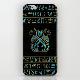 Egyptian Cats Gold and blue stained glass iPhone Skin