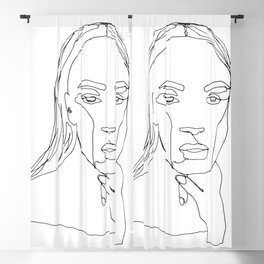Minimal One Line Art Woman Blackout Curtain