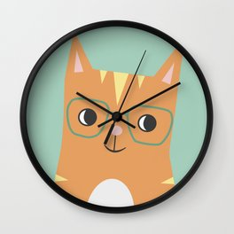 Tabby Cat with Glasses Wall Clock