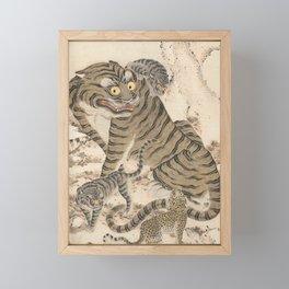 Tiger Family, Korean Art, 1800s Framed Mini Art Print