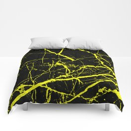 Yellow Marble Pattern - Abstract, black and yellow Comforters