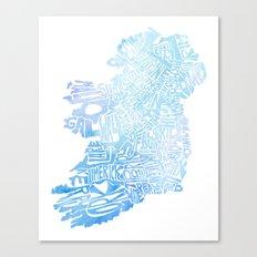 Typographic Ireland - Blue Watercolor Canvas Print