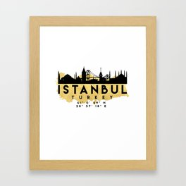 ISTANBUL TURKEY SILHOUETTE SKYLINE MAP ART Framed Art Print