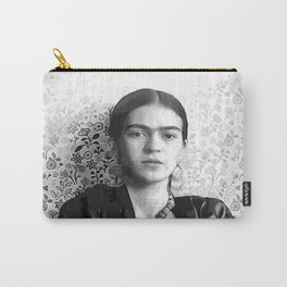 Frida with a Gun, Black and White, Vintage Wall Art Carry-All Pouch