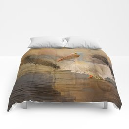 White Pelican - Touchdown! Comforters