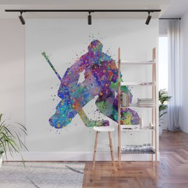 Boy Ice Hockey Goalie 2 Colorful Gift Watercolor Sports Art Wall Mural