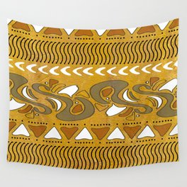 TRIBAL STAMP | gold brown putty Wall Tapestry