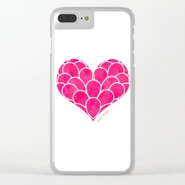Pink Heart Clear iPhone Case