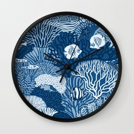 Coral Reef in Classic Blue Wall Clock