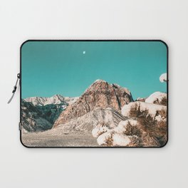 Vintage Desert Snow Moon // Cactus Plant in Winter Red Rock Canyon National Park Luna Sky Laptop Sleeve