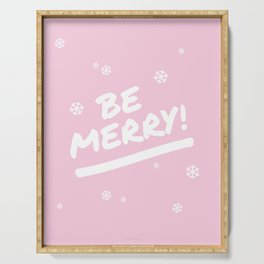 Pale Pink Be Merry Christmas Snowflakes Serving Tray