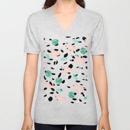 Tropical pink flamingo green watercolor leaf black polka dots llustration pattern Unisex V-Neck