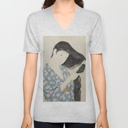 Woman in Blue Combing Her Hair - Hashiguchi Goyo Unisex V-Neck