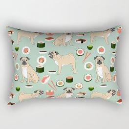 Pug sushi pattern dog breed cute pet art pet friendly gifts pugs Rectangular Pillow