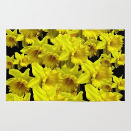 YELLOW SPRING KING ALFRED DAFFODILS ON BLACK Rug