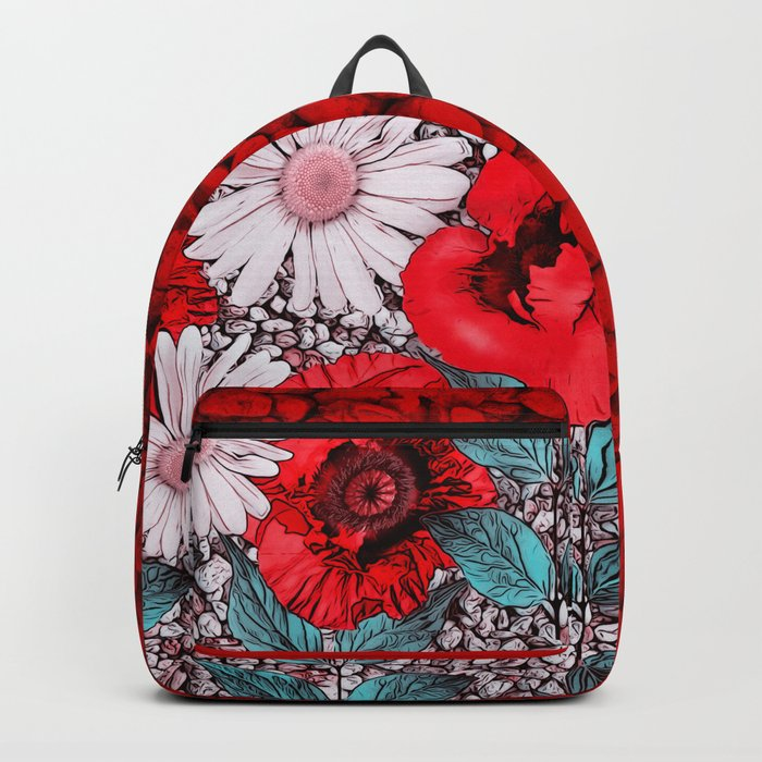 Red Poppies and margarites Backpack