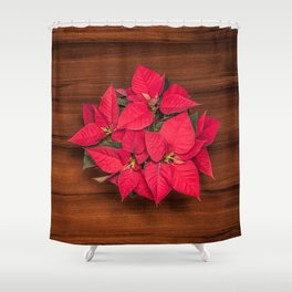 Red Christmas flower on brown wood Shower Curtain