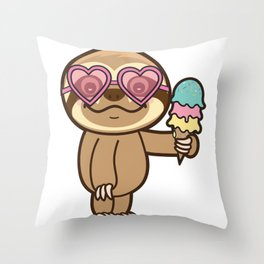 Sloth Summer! Throw Pillow