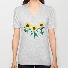 Sunny Sunflowers - Emerald Unisex V-Neck