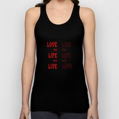 Love Life in Red Unisex Tank Top