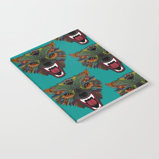 wolf fight flight teal Notebook
