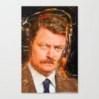 ron swanson Canvas Prints featuring Ron Swanson by lucaguglielmi